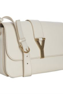 Yves Saint Laurent Ivory Leather Chyc Shoulder Bag - Lyst