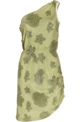 Halston Heritage One-shoulder Jacquard Silk Dress - Lyst