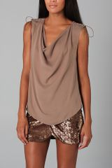 Haute Hippie Cowl Top with Lacing - Lyst