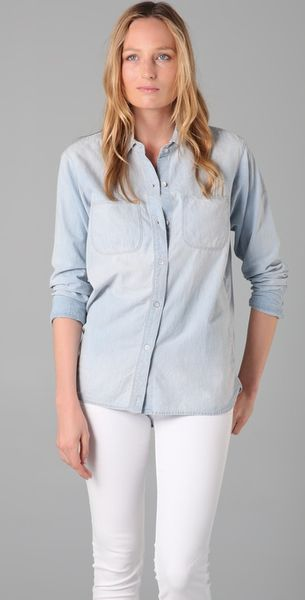Madewell Perfect Chambray Ex-boyfriend Shirt in Ferrous Wash - Lyst