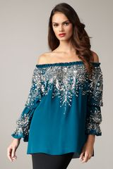 Naeem Khan Off-the-shoulder Beaded Blouse - Lyst
