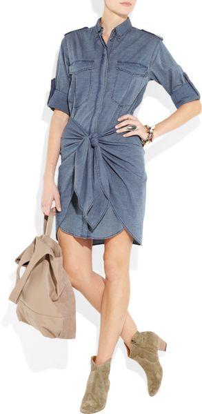 Etoile isabel marant qimi cotton chambray shirt dress in for Isabel marant shirt dress