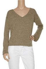 Zoe Tees Cottonblend Knit Sweater in Brown - Lyst