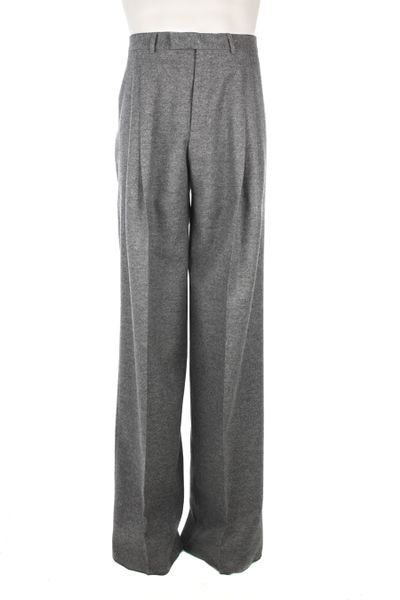 Dior High Waist Wool Flannel Pants In Gray For Men Grey