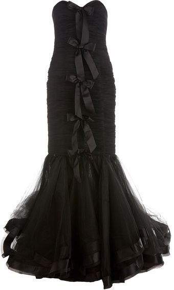 Oscar de la Renta Ruched Evening Gown with Bows - Lyst