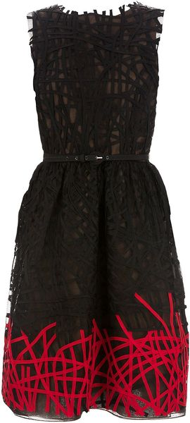 Oscar de la Renta Strapless Silk Dress - Lyst
