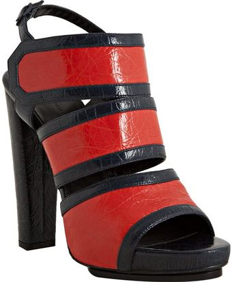 Balenciaga Red and Navy Leather Platform Slingback Sandals - Lyst