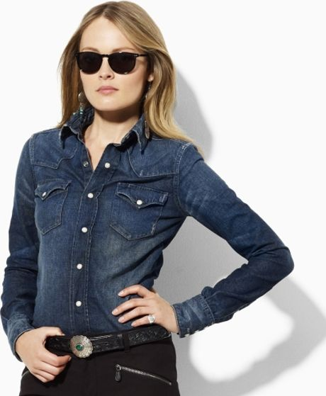 Ralph Lauren Blue Label Classic Denim Western Shirt in Blue (montana blue wash) - Lyst