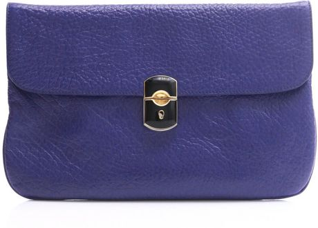 Balenciaga Padlock Clutch Bag in Blue