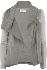 Helmut Lang Asymmetric Leather and Jersey Jacket in Gray - Lyst