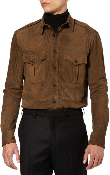 Ralph Lauren Purple Label Suede Shirt In Brown For Men Lyst