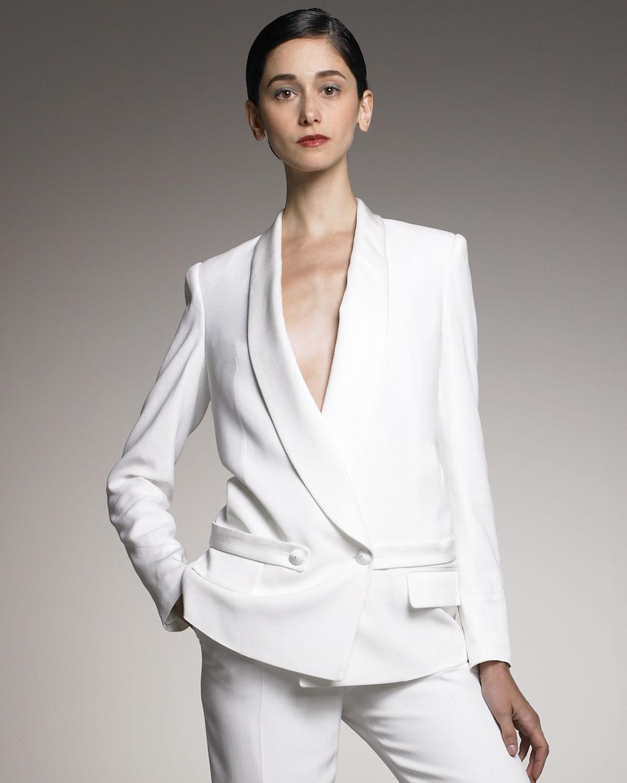 94b9ae7816e Saint Laurent Shawl-collar Tuxedo Jacket in White - Lyst