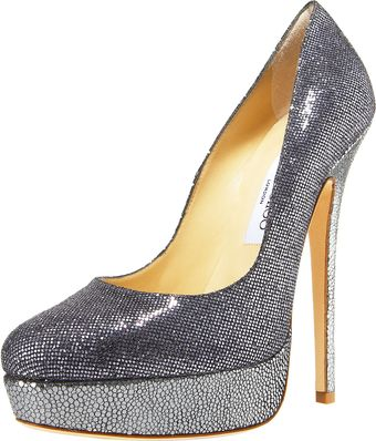 Jimmy Choo Glittered Platform Pump - Lyst