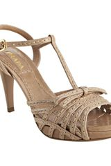 Prada Cameo Stitched Leather T-strap Platform Sandals - Lyst