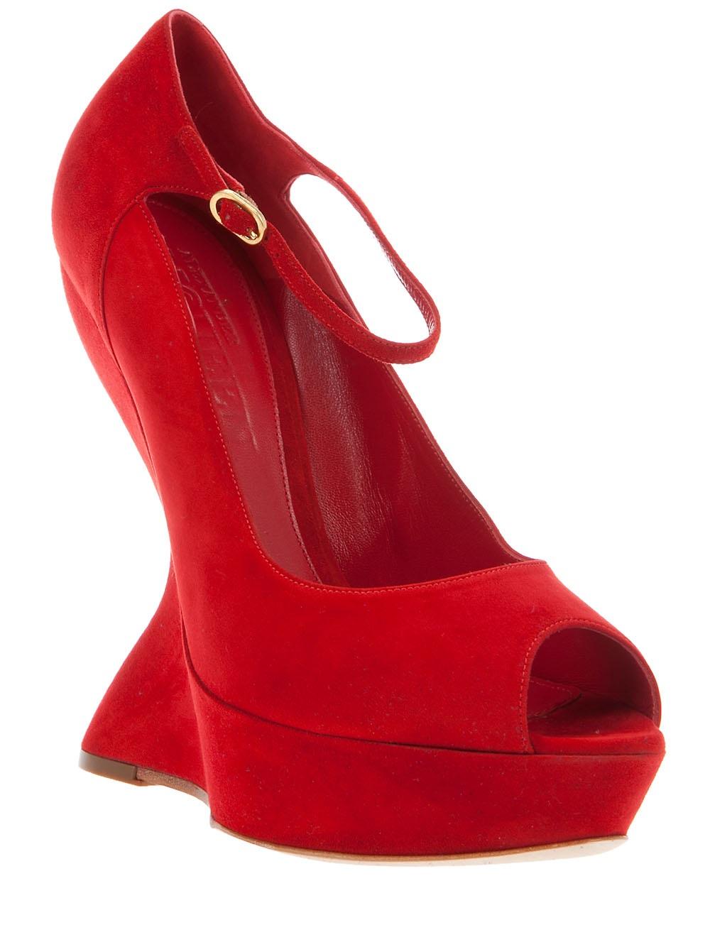 mcqueen velour curved wedge heels in lyst
