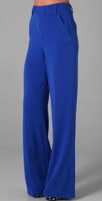 Alice   olivia High Waist Wide Leg Pants in Blue | Lyst
