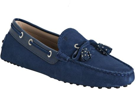 Tod's Cobalt Blue Suede Haven Nappine Studded Tassel Loafers in Blue (cobalt)
