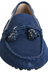 Tod's Cobalt Blue Suede Haven Nappine Studded Tassel Loafers in Blue (cobalt) - Lyst