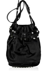 Alexander Wang Diego Rhodium-studded Leather and Calf-hair Bucket Bag - Lyst