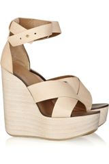 Chloé Leather Wedge Sandals - Lyst