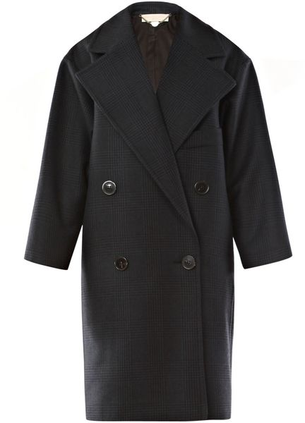 Stella Mccartney Prince Of Wales Check Wool Coat in Blue (navy) - Lyst
