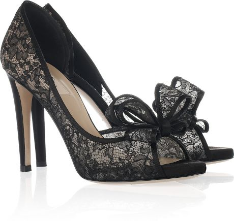 Black lace heels with bow - photo#27