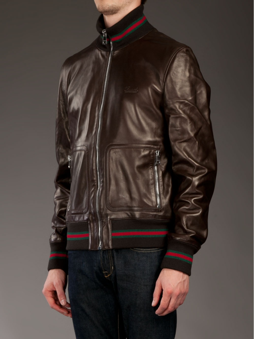 Gucci Leather Jacket in Brown for Men - Lyst 5eb652f382d8