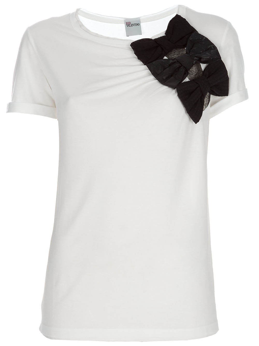 Red valentino bow embellished jersey t shirt in white lyst for Red valentino t shirt