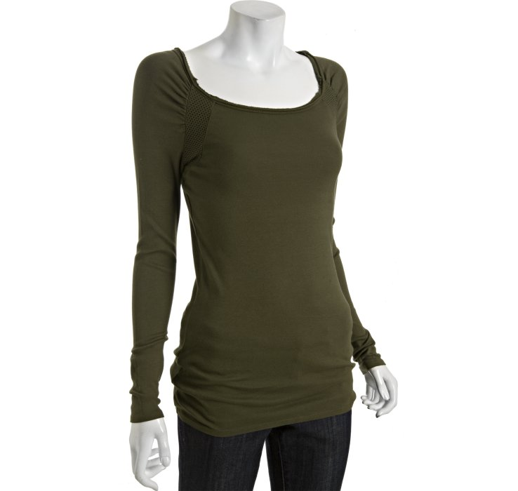 Three dots sagebrush cotton ballet neck long sleeve t for Ballet neck tee shirts