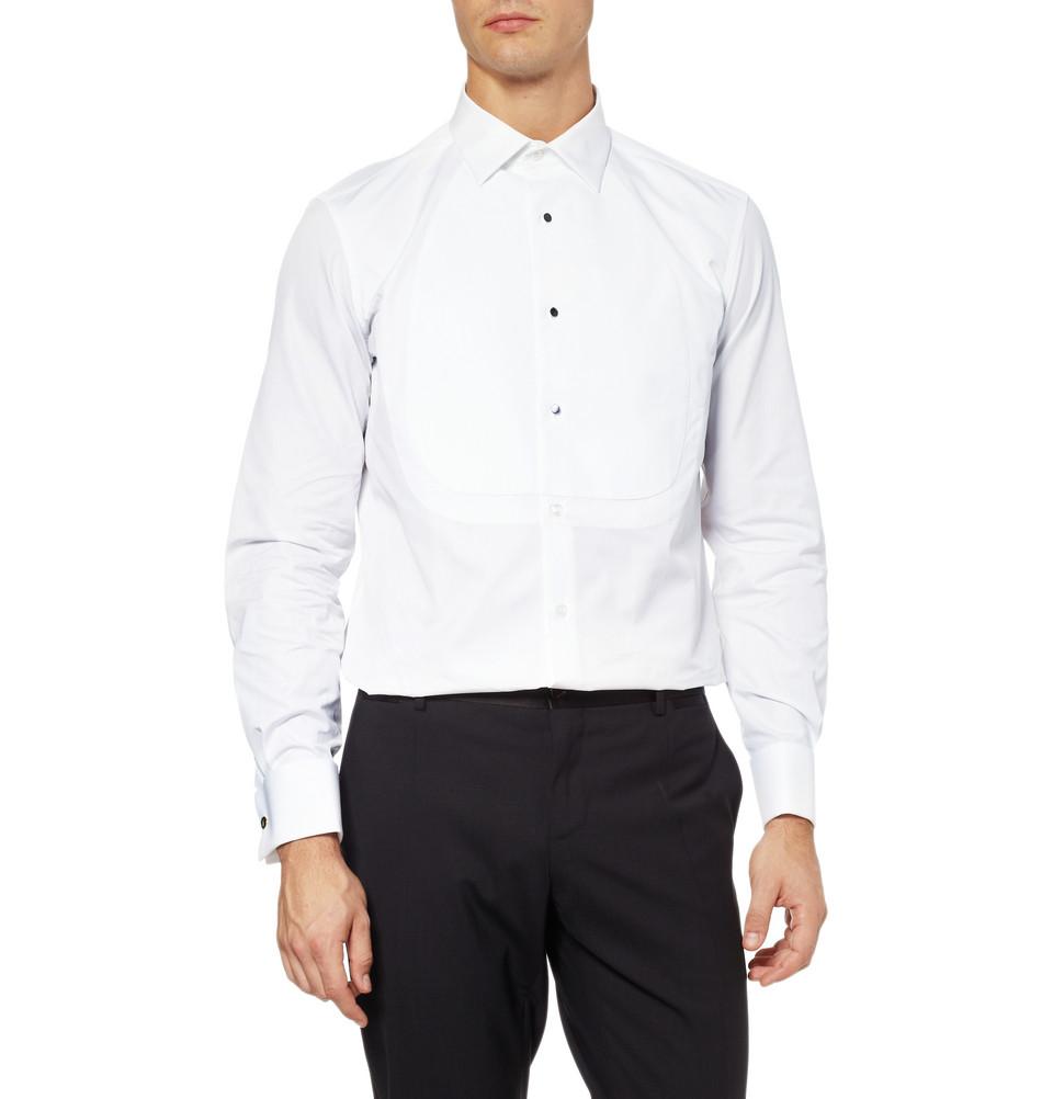 bb067891815acd Saint Laurent Pique Bib Tuxedo Shirt in White for Men - Lyst