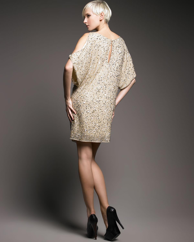 7285571d91a Aidan Mattox Sequined Cold-shoulder Dress in Metallic - Lyst
