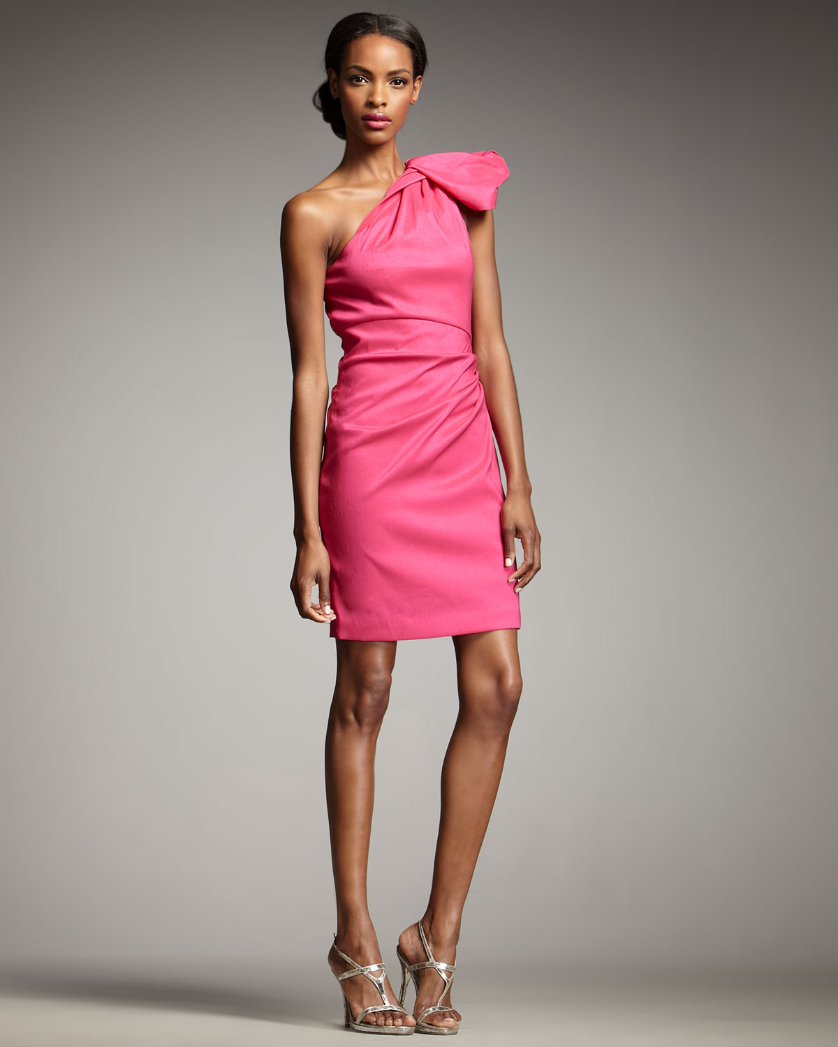 Badgley mischka One-shoulder Cocktail Dress in Pink | Lyst