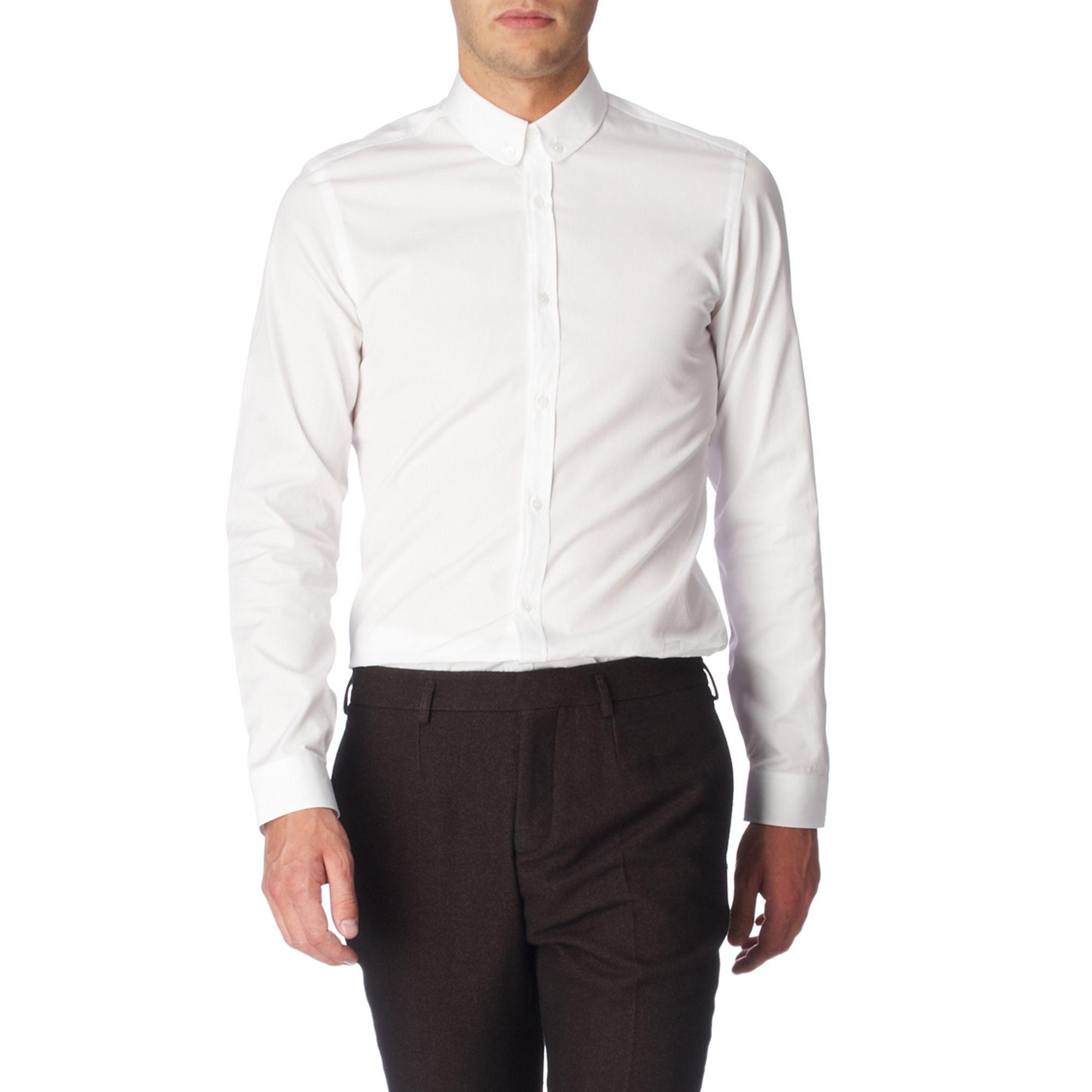 Burberry prorsum plain slim fit single cuff shirt white in for Single cuff dress shirt