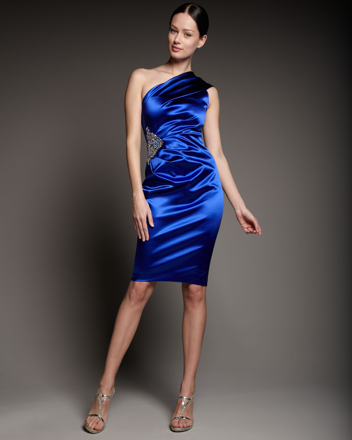 Lyst David Meister One Shoulder Bead Detail Dress In Blue
