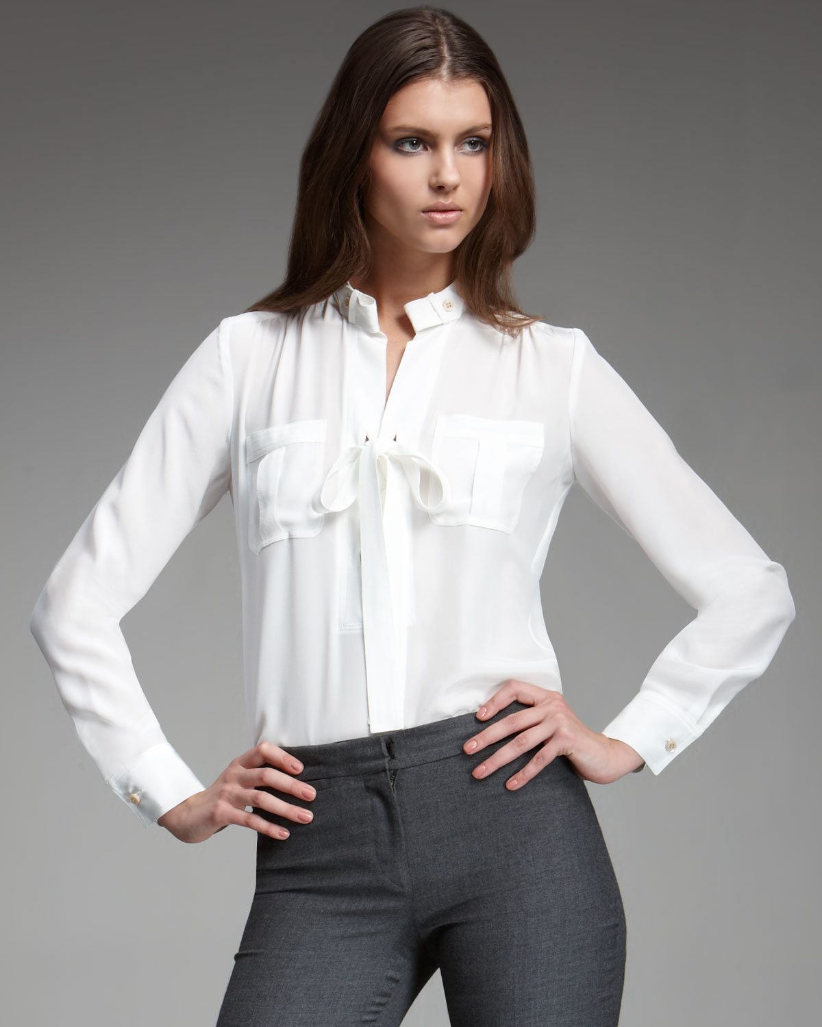 7ad0c6a5b4f9bf Lyst - Derek Lam Tie-front Blouse in White