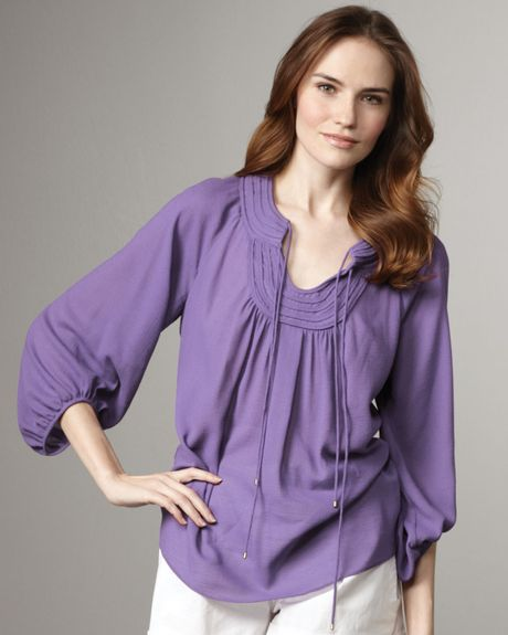 Diane Von Furstenberg Acquilina Threequartersleeve Blouse in Purple - Lyst