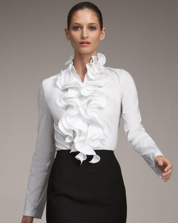 Lafayette 148 New York Tessa Stretch Cotton Sleeveless ... |Ruffle Shirt