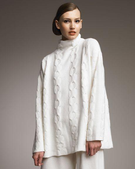 Eskandar Moss Mock Neck Cable Knit Cashmere Sweater In