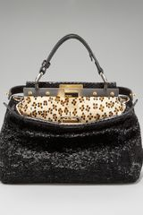 Fendi Beaded Snakeskin Mini Peekaboo Tote - Lyst