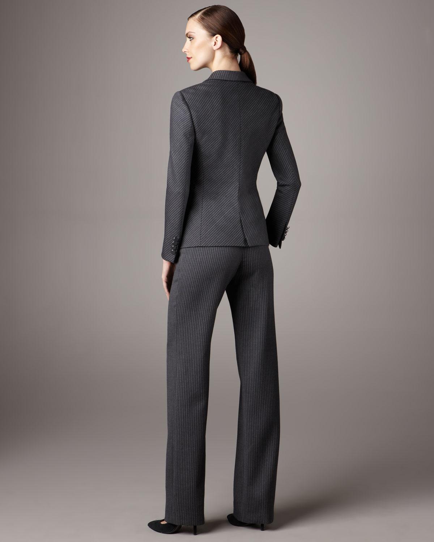 Giorgio armani Pinstripe Suit in Gray | Lyst
