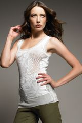 Jean Paul Gaultier Long Lace Tank, Cream - Lyst