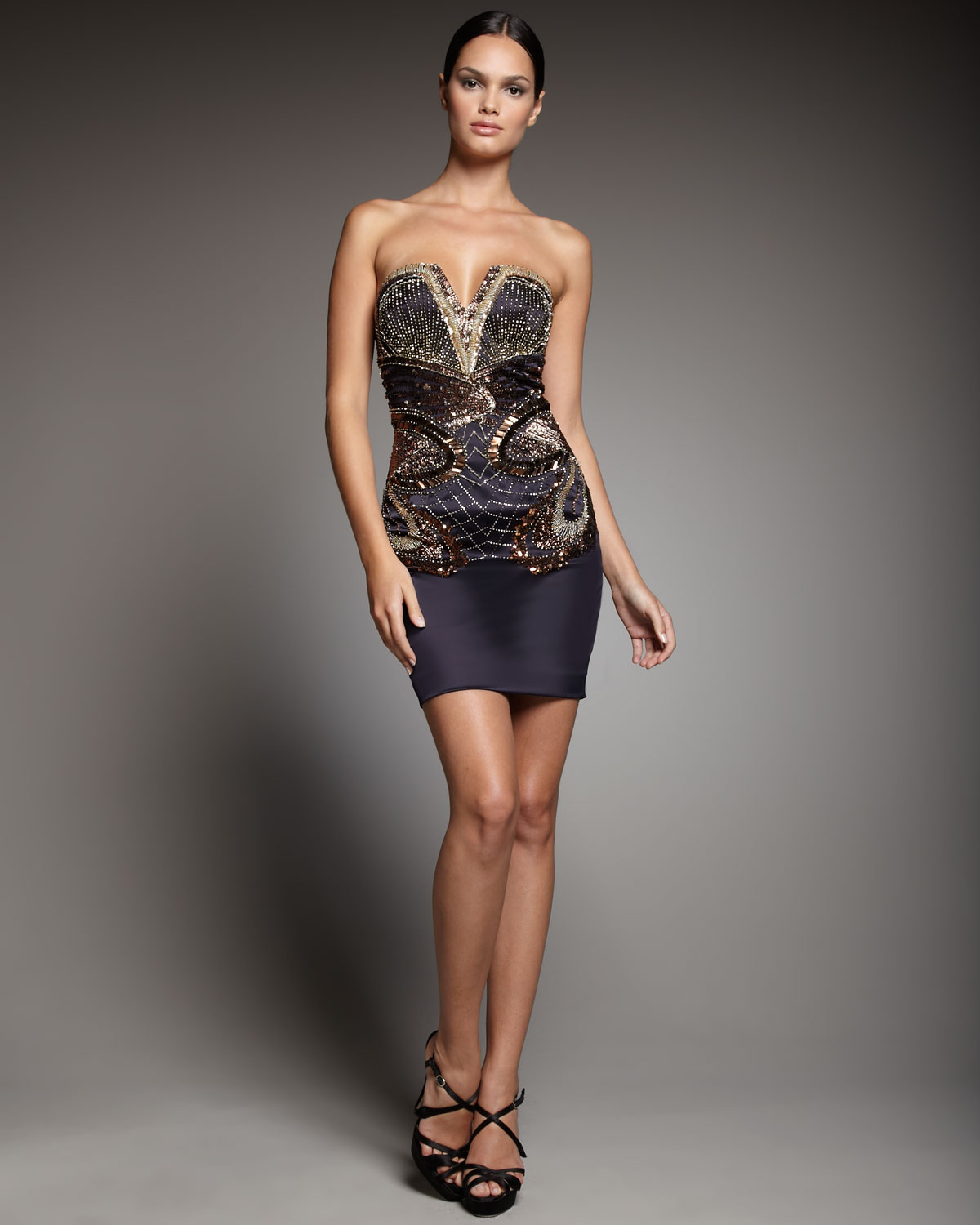 Strapless Beaded Cocktail Dress