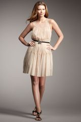Mark + James By Badgley Mischka Tie-waist Metallic Tulle Dress - Lyst