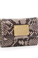 Michael by Michael Kors Jet Set Flap Coin Holder, Dark Dune Python - Lyst