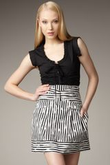 Nanette Lepore Savage Girl Stripe Skirt - Lyst