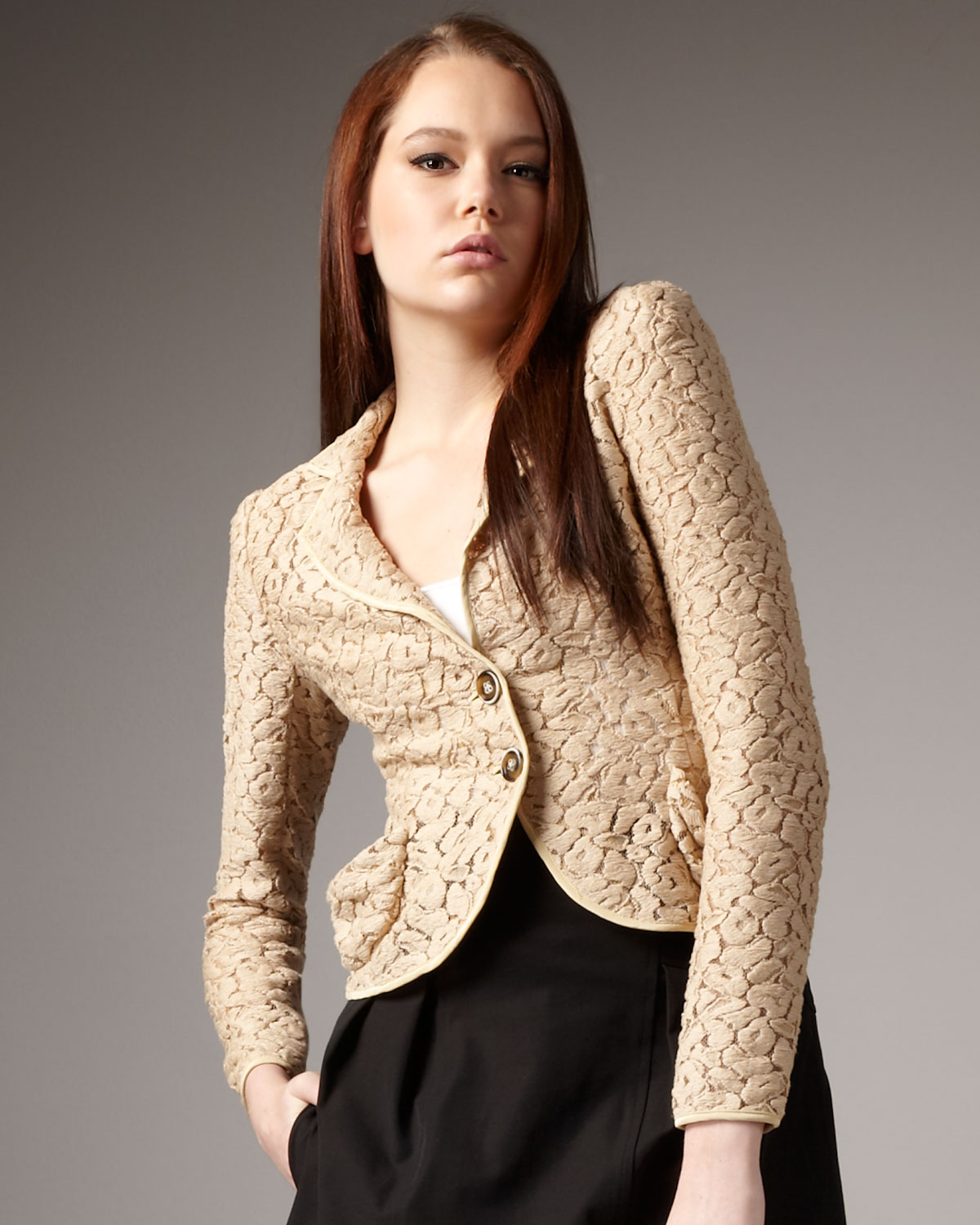 Lyst Nanette Lepore Aria Lace Jacket In Natural