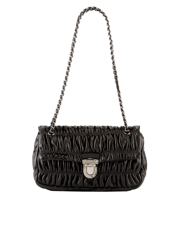 Prada Napa Gaufre Chain Shoulder Bag in Beige (black)   Lyst