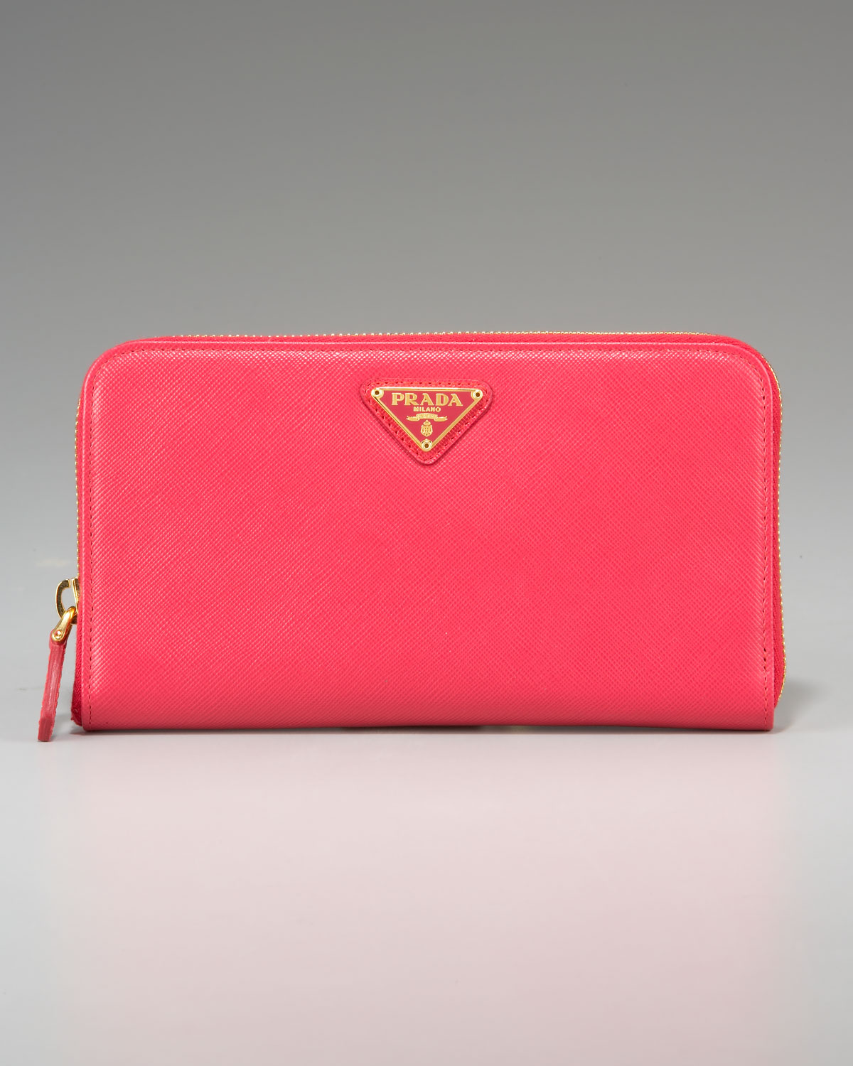 0025748cf984 93eac 224fa; new zealand lyst prada saffiano zip around wallet in pink  6a710 5bee0