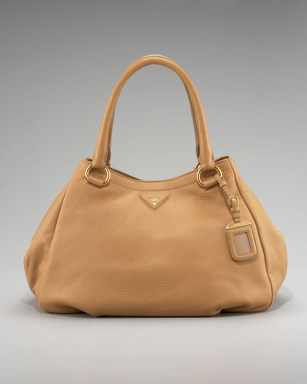 prada nylon handbags sale - Prada Cervo Double-handle Hobo in Brown (tan) | Lyst