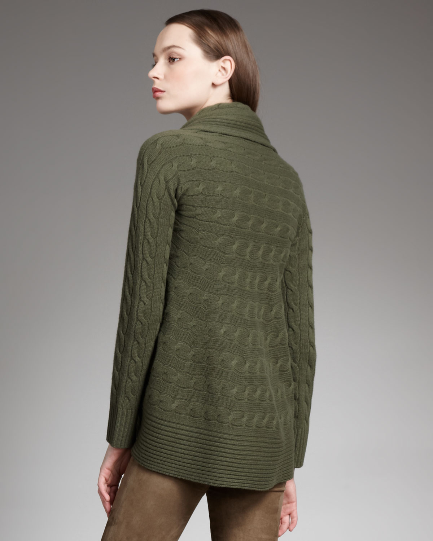 Ralph Lauren Black Label Cashmere Cable Knit Cardigan In